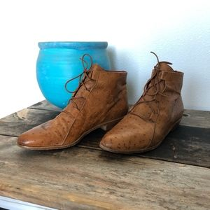 Vintage Ostrich Skin Lace Up Ankle Boots